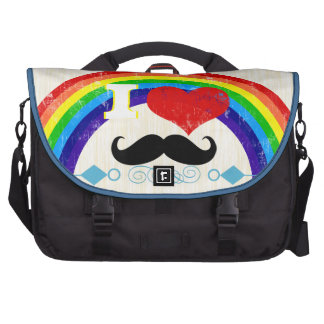 Personalized Rainbow I Heart Mustache Computer Bag