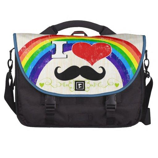 Personalized Rainbow I Heart Mustache Laptop Messenger Bag