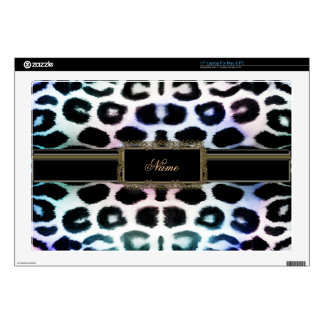 Personalized Rainbow Leopard Print Laptop Skin