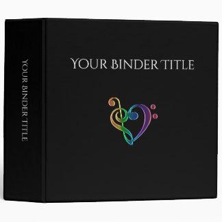 Personalized Rainbow Music Clef Heart Binder