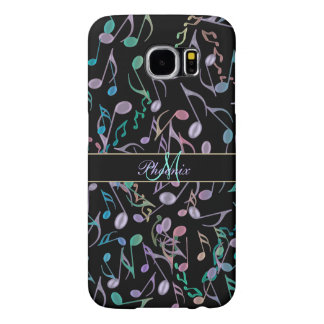 Personalized Rainbow Music Notes Black S6 Case