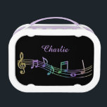 """Personalized Rainbow Music Notes Lunch Box<br><div class=""""desc"""">Personalized Rainbow Music Notes Lunch Box. A great gift for your favorite young musician or music lover.</div>"""