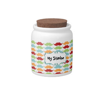 Personalized Rainbow Mustache Candy Jar My Stache