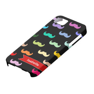 Personalized Rainbow Mustache pattern on black iPhone 5 Cases