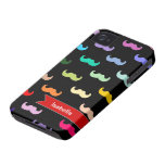 Personalized Rainbow Mustache pattern on black iPhone 4 Case-Mate Cases