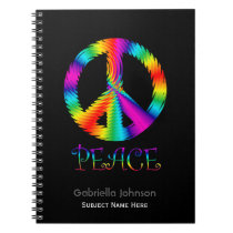 Personalized: Rainbow Peace Sign Notebook
