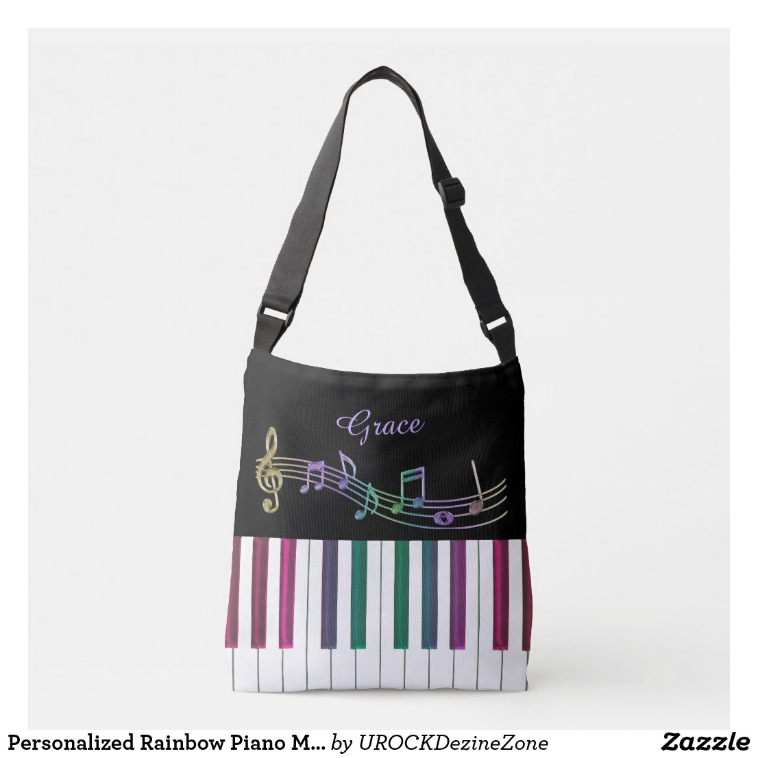 Personalized Rainbow Piano Music Tote Bag