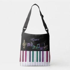 Personalized Rainbow Piano Music Tote Bag at Zazzle