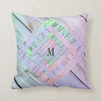 Personalized Rainbow Shabby Pastel Monogram Pillow