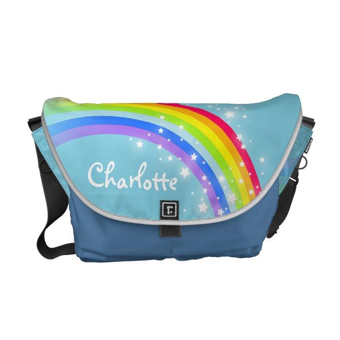 Personalized rainbow sky blue kids school bag