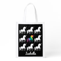 Personalized Rainbow Unicorn Black & White Pattern Reusable Grocery Bag