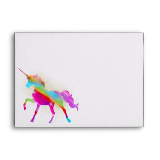 Personalized Rainbow Unicorn Custom Lined Envelope