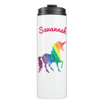 Personalized Rainbow Unicorn Watercolor Girls Thermal Tumbler