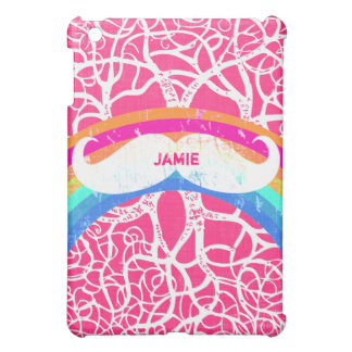 Personalized Rainbow Vintage Mustache iPad Mini Case For The iPad Mini