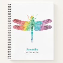 Personalized Rainbow Watercolor Dragonfly Feminine Notebook