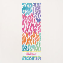Personalized Rainbow Watercolor Leaves Pattern Yoga Mat