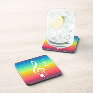 Personalized Rainbow Watercolor Treble Clef Beverage Coaster
