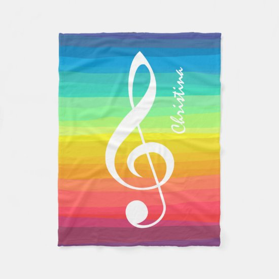 Personalized Rainbow Watercolor Treble Clef Fleece Blanket