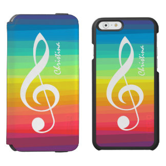 Personalized Rainbow Watercolor Treble Clef iPhone 6/6s Wallet Case