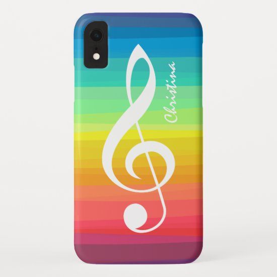 Personalized Rainbow Watercolor Treble Clef iPhone XR Case