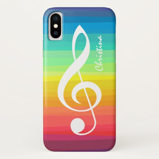 Personalized Rainbow Watercolor Treble Clef iPhone XS Case