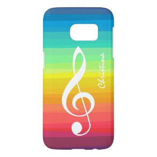 Personalized Rainbow Watercolor Treble Clef Samsung Galaxy S7 Case