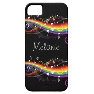 Personalized Rainbow White Music Notes Iphone 5 iPhone 5 Case
