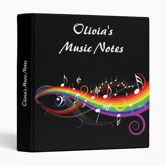 Personalized Rainbow White Music Notes on Black 3 Ring Binder