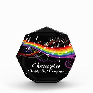 Personalized Rainbow White Music Notes on Black Award