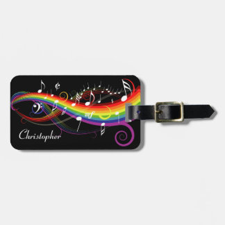 Personalized Rainbow White Music Notes on Black Bag Tag