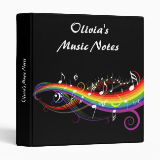 Personalized Rainbow White Music Notes on Black Binder