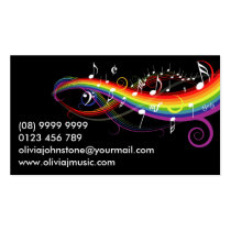 Personalized Rainbow White Music Notes on Black Double-Sided Standard Business Cards (Pack Of 100)