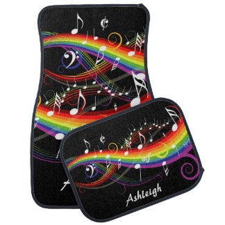 Personalized Rainbow White Music Notes on Black Car Mat