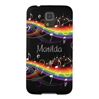 Personalized Rainbow White Music Notes on Black Galaxy S5 Cover
