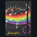 "Personalized Rainbow White Music Notes on Black iPad Pro 12.9&quot; Case<br><div class=""desc"">An elegant ipad pro case featuring a stylish music design with white musical notes floating on a rainbow of swirling colors on a black background. Perfect for the musician or music lover. We welcome custom requests for other color combinations, just use the contact us via our GiftsBonanza store with your...</div>"