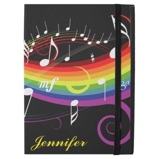 """Personalized Rainbow White Music Notes on Black iPad Pro 12.9"""" Case"""