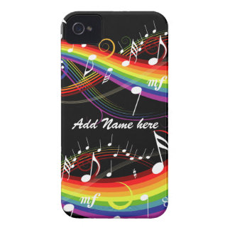 Personalized Rainbow White Music Notes on Black iPhone 4 Case-Mate Case