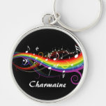 Personalized Rainbow White Music Notes on Black Silver-Colored Round Keychain
