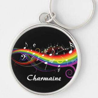 Personalized Rainbow White Music Notes on Black Keychain