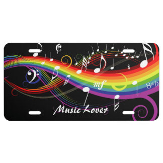 Personalized Rainbow White Music Notes on Black License Plate