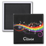 Personalized Rainbow White Music Notes on Black 2 Inch Square Magnet