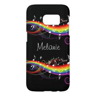 Personalized Rainbow White Music Notes on Black Samsung Galaxy S7 Case