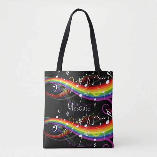 Personalized Rainbow White Music Notes on Black Tote Bag