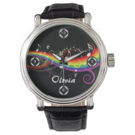 Personalized Rainbow White Music Notes on Black Wrist Watch