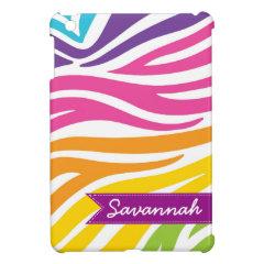 Personalized Rainbow Zebra Print iPad Mini Case