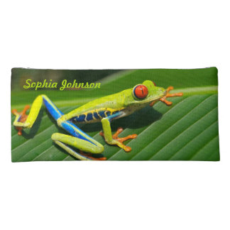 Personalized rainforest green red-eyed tree Frog Pencil Case