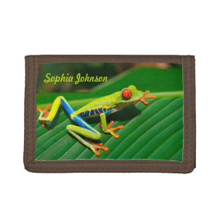 Personalized rainforest green red-eyed tree Frog Trifold Wallet