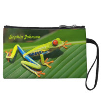 Personalized rainforest green red-eyed tree Frog Wristlet