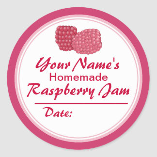 Personalized Raspberry Jam Canning Jar Lid Round Classic Round Sticker