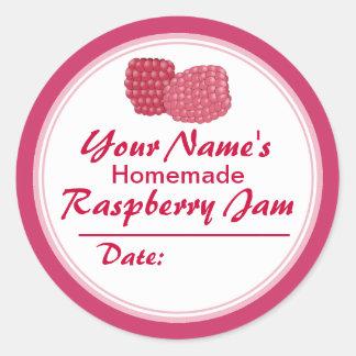 Personalized Raspberry Jam Canning Jar Lid Round Sticker